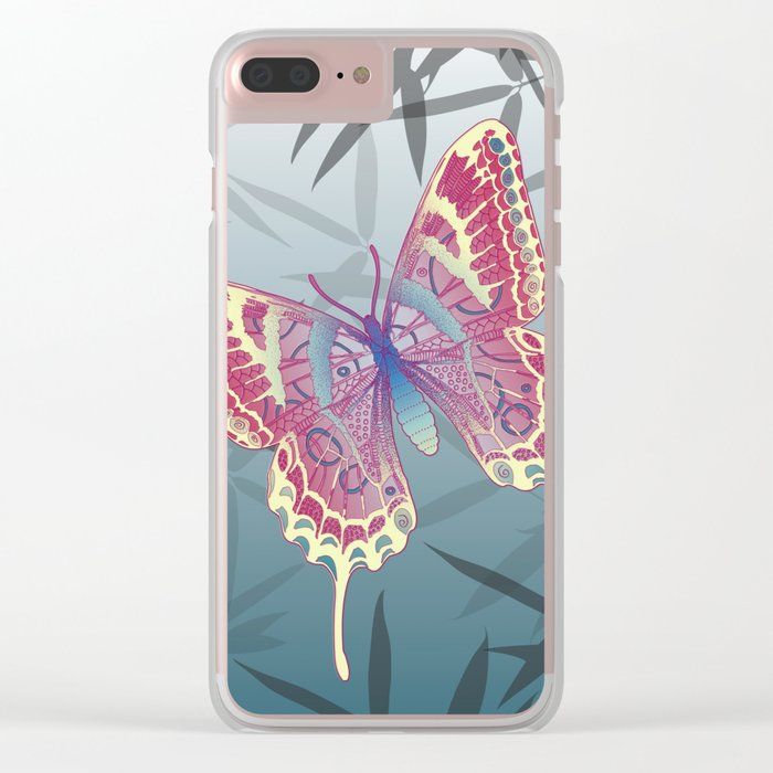 Unique Butterfly Bamboo leaves Pattern Clear iPhone Case