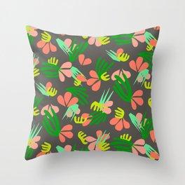 Henri's Garden in gray // tropical flora pattern Throw Pillow