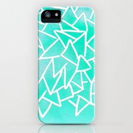 Blue turquoise watercolor geometric triangles iPhone Case