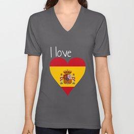 Spain gift spanish flag funny heart Unisex V-Neck
