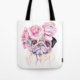 Flower Pug Tote Bag