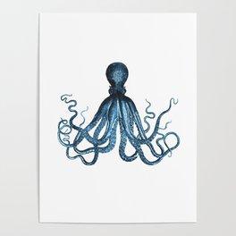 Octopus coastal ocean blue watercolor Poster
