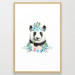 Watercolor Floral Spray Boho Panda Framed Art Print