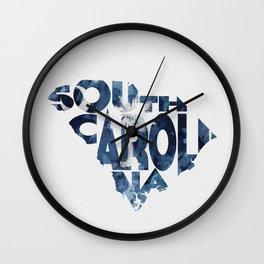 South Carolina Typographic Flag Map Art Wall Clock