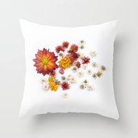 leah flores Throw Pillows featuring FLORES by Miles of Light