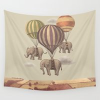 jazzberry blue Wall Tapestries featuring Flight of the Elephants  by Terry Fan