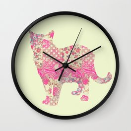 Burmese Cat Vintage Floral Pattern Pink Cream Shabby Chic Wall Clock