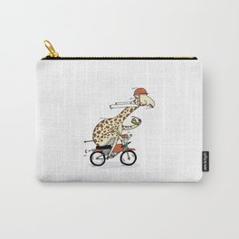 Giraffe on a motorbike eating a cheese sandwich... Carry-All Pouch