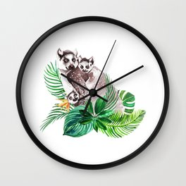 Lemurs watercolor with tropical leaves Wall Clock