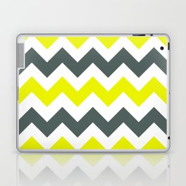 Chevron Pattern In Limelight Yellow Grey and White Laptop & iPad Skin