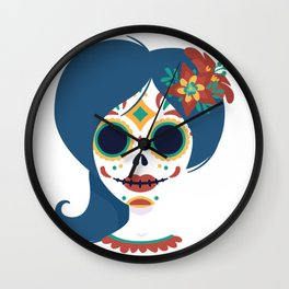 Cool Mexican skull women head design Wall Clock