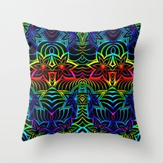 Tangled rainbow flowers Throw Pillow