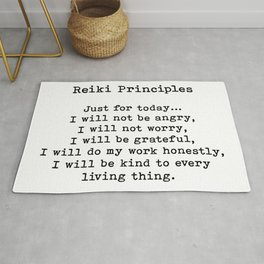 Reiki Principles, Just For Today, Positive, Words Rug