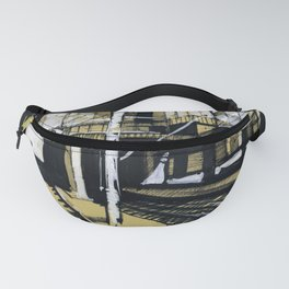 Monochrome drawing of an industrial city landscape. Fanny Pack