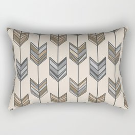 Boho Arrow Fletching Pattern - Neutral Brown and Grey Rectangular Pillow