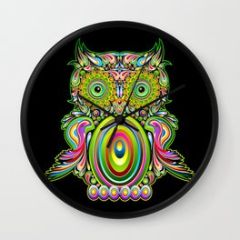 Owl Psychedelic Art Design Wall Clock