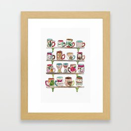 mugs on a shelf Framed Art Print