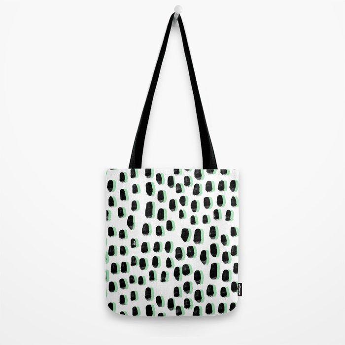 Shift pattern mint pastel black and white minimal dots painting brushstrokes modern art dorm college Tote Bag