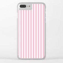 Erdbeereis am Stiel - Pink White Stripes Clear iPhone Case