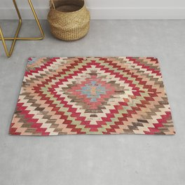 Baklava Chevron Star // 18th Century Authentic Colorful Light Pink Green Blue Accent Pattern Rug