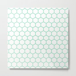 Honeycomb (Mint & White Pattern) Metal Print