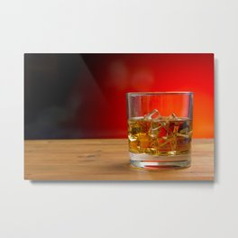 Glass of Whisky With Ice on a Wooden Table Metal Print