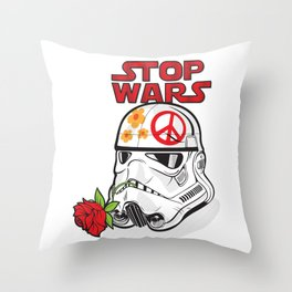stop wars: stormtrooper for peace Throw Pillow