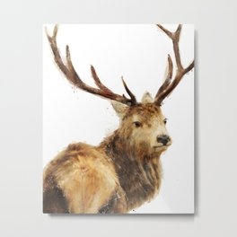 Winter Red Deer Metal Print