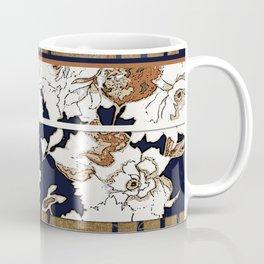 Navy and Gold Herringbone Peony Obi Print Coffee Mug
