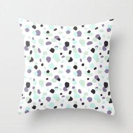 Modern violet mint green aqua watercolor brushstrokes dots Throw Pillow