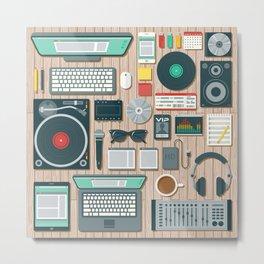 DJ's Workspace Metal Print