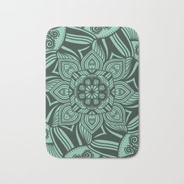 Mint Mandala with Bold Lines Bath Mat