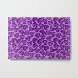 Purple Leopard print hearts Metal Print