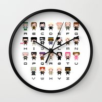 harry potter Wall Clocks featuring Harry Potter Alphabet by PixelPower