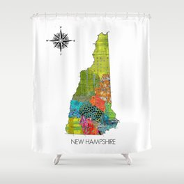 Map of NH Art Collage Shower Curtain