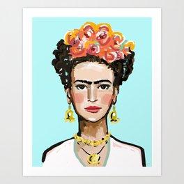 Frida Aqua Art Print