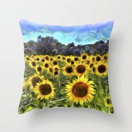 Sunflower Field Vincent Van Goth Throw Pillow