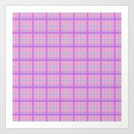 Pink and Pastel Plaid Pattern Art Print