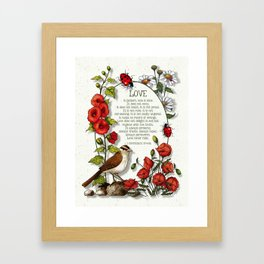 Bible Verses About LOVE, With Bird, Ladybugs, and Floral Art Framed Art Print
