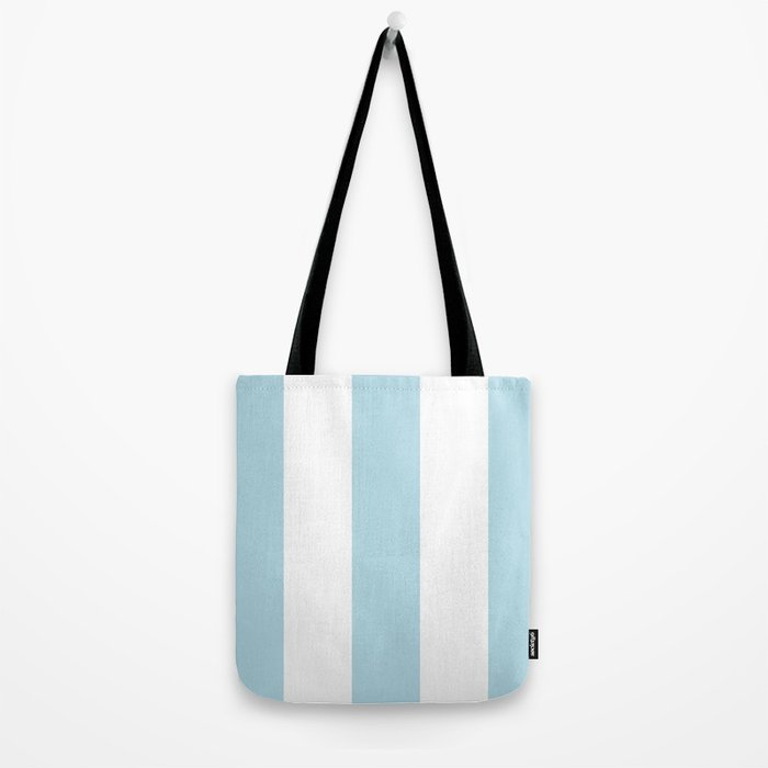 Aqua Blue and white stripe Tote Bag