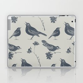 Birds and Daisies, drawing in blue and grey Laptop & iPad Skin