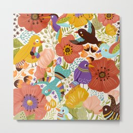 Birds and Poppy flowers Metal Print
