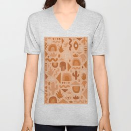 Orange Cutout Print Unisex V-Neck