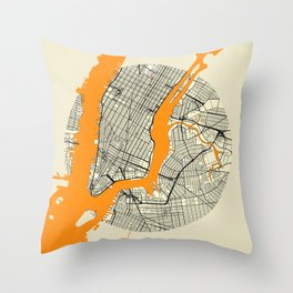 New York Map Moon Throw Pillow
