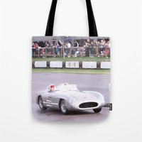 mercedes Tote Bags featuring Mercedes Benz Silberpfeil with Stirling Moss by Premium