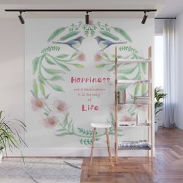 Happiness - Botanic bird water lily - Green, pink - Circle Wall Mural