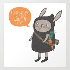 Ninja Bunny Art Print