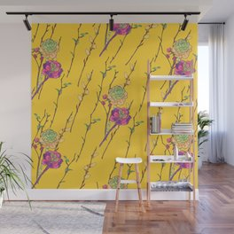 oriental flower stripe yellow Wall Mural