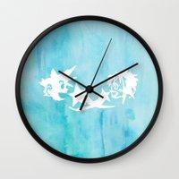 kingdom hearts Wall Clocks featuring Kingdom Hearts Watercolor by Sierra Wheeler