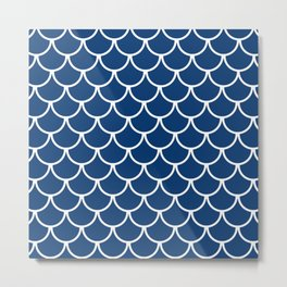 Navy Blue Fish Scales Pattern Metal Print